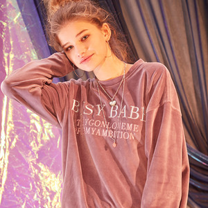 EMBROIDERED BUSY BABE VELVET SWEATSHIRT - PURPLE