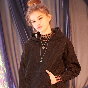 [시즌오프 40%] EMBROIDERED LUREX HOODIE - BLACK